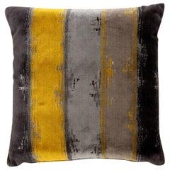 Brabbu Xhosa Pillow in Yellow, Gray and Charcoal Twill