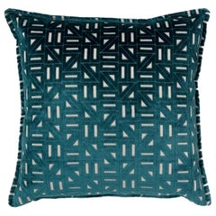 Brabbu Zellige Pillow in Blue Velvet with Geometric Pattern