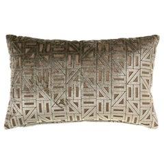 Brabbu Zellige Pillow in Beige & Tan Velvet with Geometric Pattern