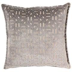 Brabbu Zellige Pillow in Gray Velvet with Geometric Pattern