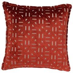 Brabbu Zellige Pillow in Red Velvet with Geometric Pattern