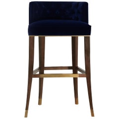 Brabbu Bourbon Bar Chair in Navy Blue Cotton Velvet with Wood and Brass Detail