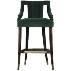 Brabbu Cayo Bar Chair in Green Cotton Velvet with Wood & Brass Detail