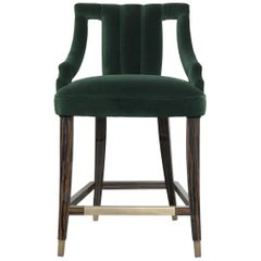 Brabbu Cayo Counter Stool in Forest Green Cotton Velvet with Wood & Brass Detail