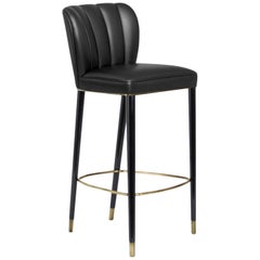 Brabbu Dalyan Bar Chair in Black Faux Leather with Polished Brass Detail