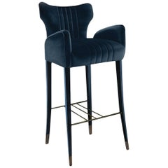 Brabbu Davis Bar Chair in Blue Cotton Velvet
