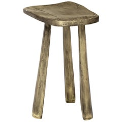 Brabbu Dolmen Three-Leg Stool in Polished Casted Brass