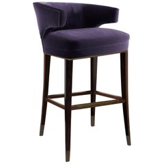 Brabbu Ibis Bar Chair in Purple Cotton Velvet with Wood Legs
