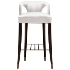 Brabbu Karoo Bar Chair in White Satin with Wood and Brass Detail