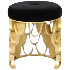 Brabbu Koi Stool in Black Cotton Velvet with Brass Base