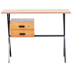 1960s Teak and Metal Writing Desk 100cm Wide