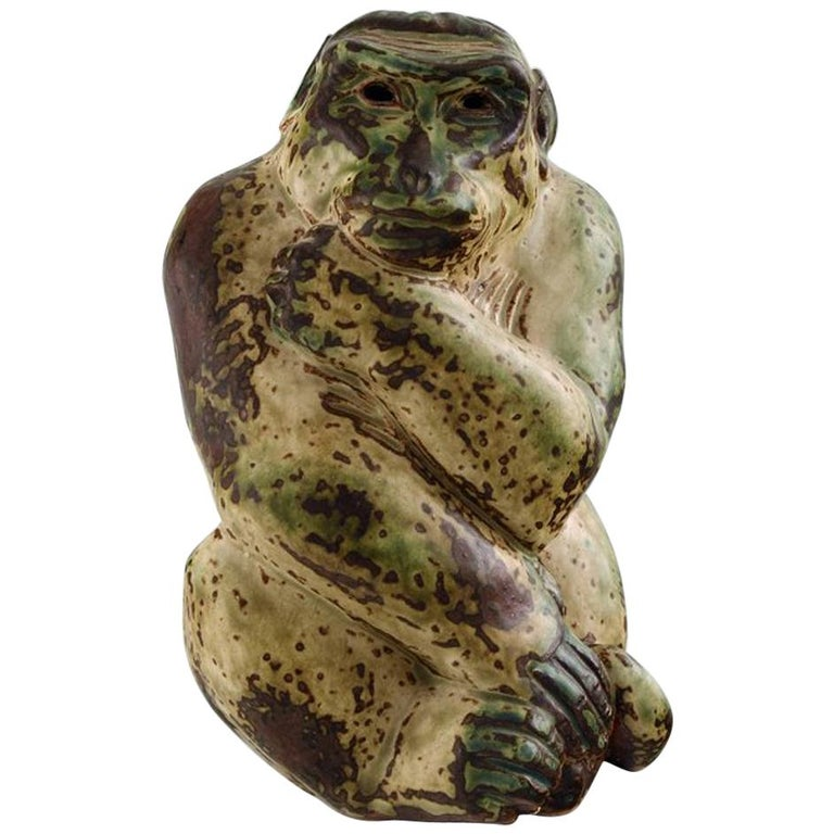 Knud Kyhn for Royal Copenhagen, Stoneware Figure, Monkey, Sung Glaze