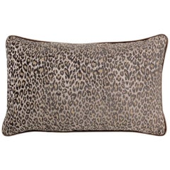 Brabbu Eclectic Pardus Pillow in Brown Animal Print Twill