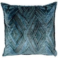 Brabbu Peafowl II Pillow in Blue Velvet