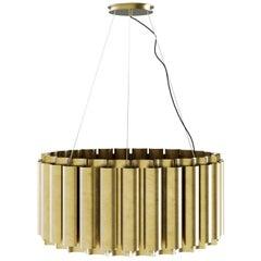 Brabbu Aurum II Round Pendant Light in Matte Hammered Brass