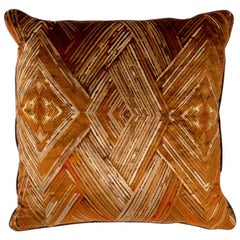 Brabbu Peafowl II Pillow in Orange Velvet