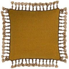 Brabbu Anise Pillow in Mustard Twill with Fringe
