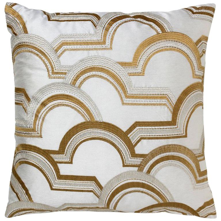 Brabbu Square Arco A Volta Pillow in White Satin with Gold Detail