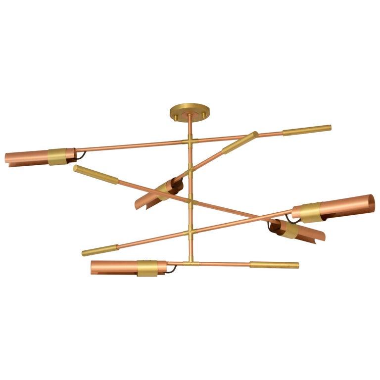 Brabbu Koben Chandelier in Brushed Copper and Brass For Sale