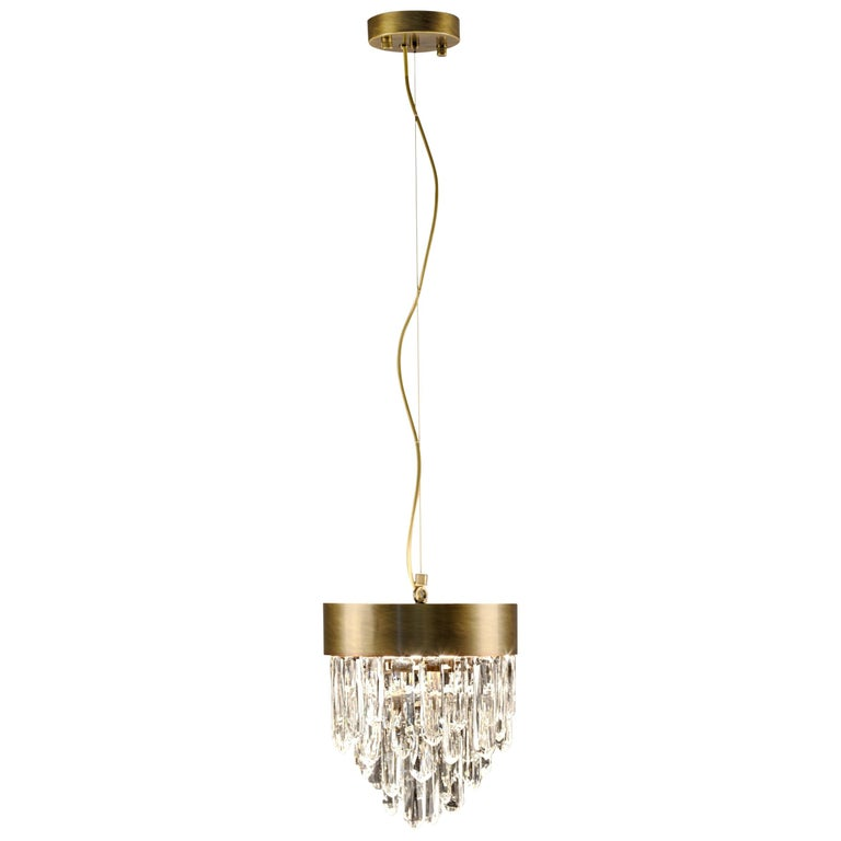 Brabbu Naicca Pendant Light in Brushed Brass & Quartz