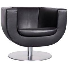 B&B Italia Tulip Designer Leather Armchair Black Chair