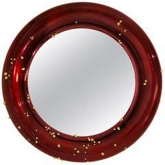 Brabbu Belize Mirror in Red with Polished Brass Detail