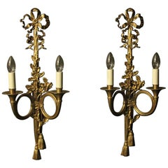French Pair of Gilded Maison Bagues Antique Wall Lights