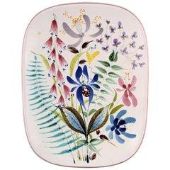 Dish Decorated with Flowers, Stig Lindberg, Gustavsberg Studio, Faience, 1940s