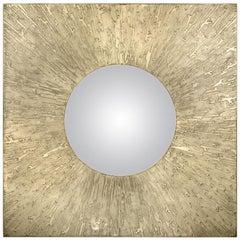 Brabbu Huli II Square Mirror in Matte Casted Brass