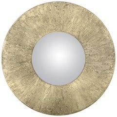 Brabbu Huli Round Mirror in Matte Casted Brass
