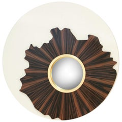 Brabbu Iris Mirror with Wood and Ivory Lacquer Detail
