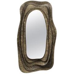 Brabbu Kumi I Rectangular Mirror in Hammered Aged Brass