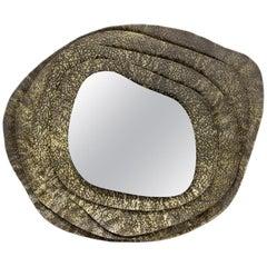 Brabbu Kumi II Round Mirror in Hammered Aged Brass