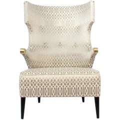 Brabbu Sika Rare I Armchair in White & Silver with Brass Details