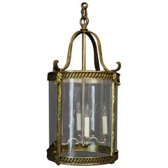 French 19th Century Large Gilded Bronze Four Light Antique Lantern