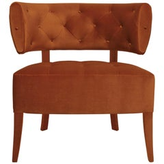 Brabbu Zulu Armchair in Rust Cotton Velvet