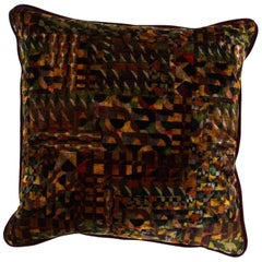 Brabbu Gerard Earth Pillow in Brown and Green Multicolored Velvet