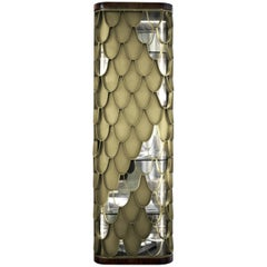 Brabbu Koi Tall Storage in Black Lacquer and Brass Door