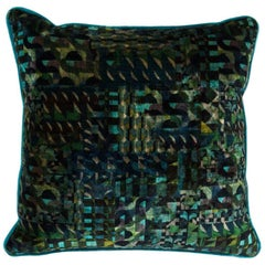 Brabbu Gerard Ocean Pillow in Blue and Green Multicolored Velvet
