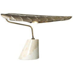 Brabbu Calla Table Lamp in Hammered Aged Brass with Marble Base