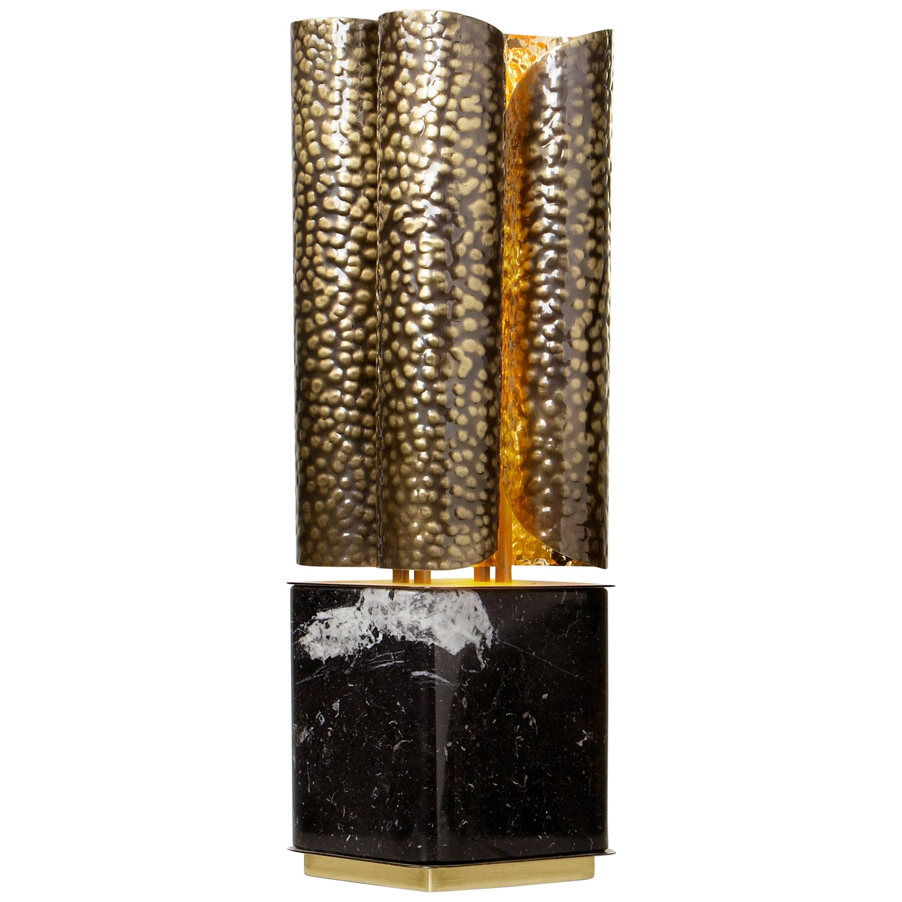 Vellum Table Lamp in Hammered Aged Brass with Marble Base