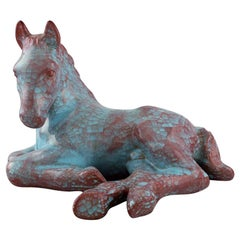 Michael Andersen, Lying Foal / Horse in Green and Violet Glaze