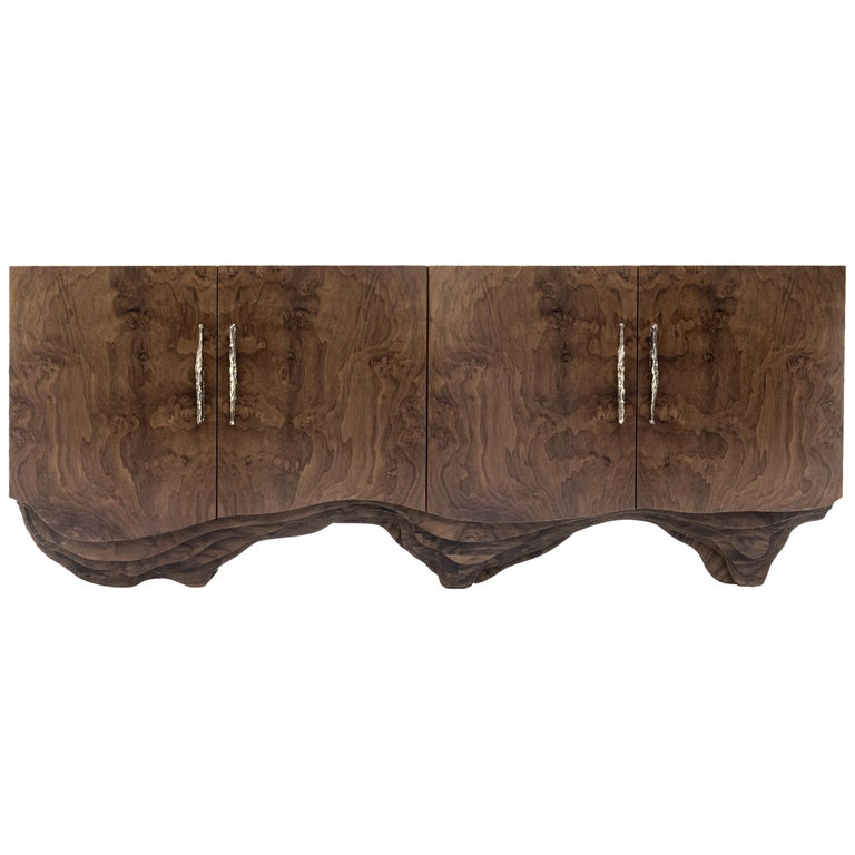 Brabbu Huang Sideboard with Walnut Root Veneer and Brushed Brass Detail