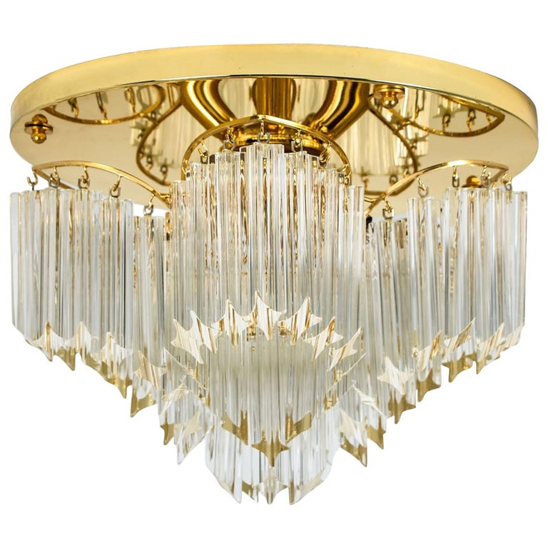 Triedri Crystal  Brass Flush Mount Ceiling Chandelier by Venini, Italy