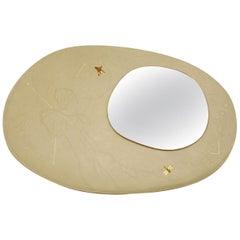 Organic Modern Mastic Beige Leather Mirror, France, 2018