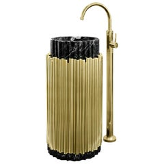 Brabbu Symphony Free Stand in Black Marble and Gold-Plated Brass