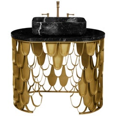 Brabbu Koi Single Washbasin in Estremoz Marble Gray with Brass Base