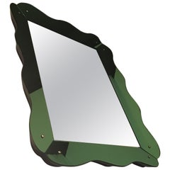 Brusotti Mirror Green Mirrored Glass Frame Wood Structures Edges Rosewood, 1940