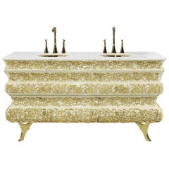 Brabbu Crochet Washbasin in Brass and Marble
