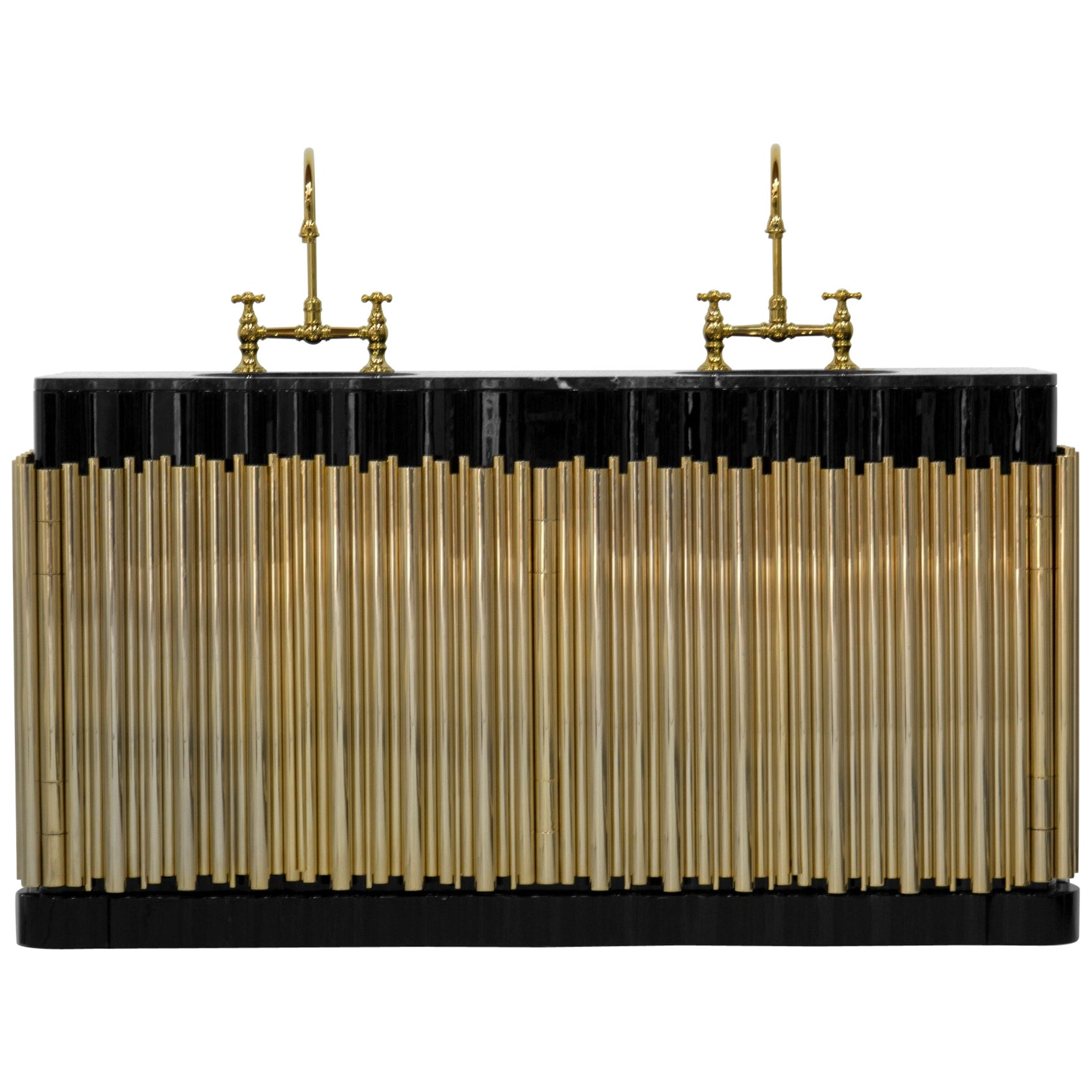 Symphony Washbasin in Black Marble and Gold-Plated Brass